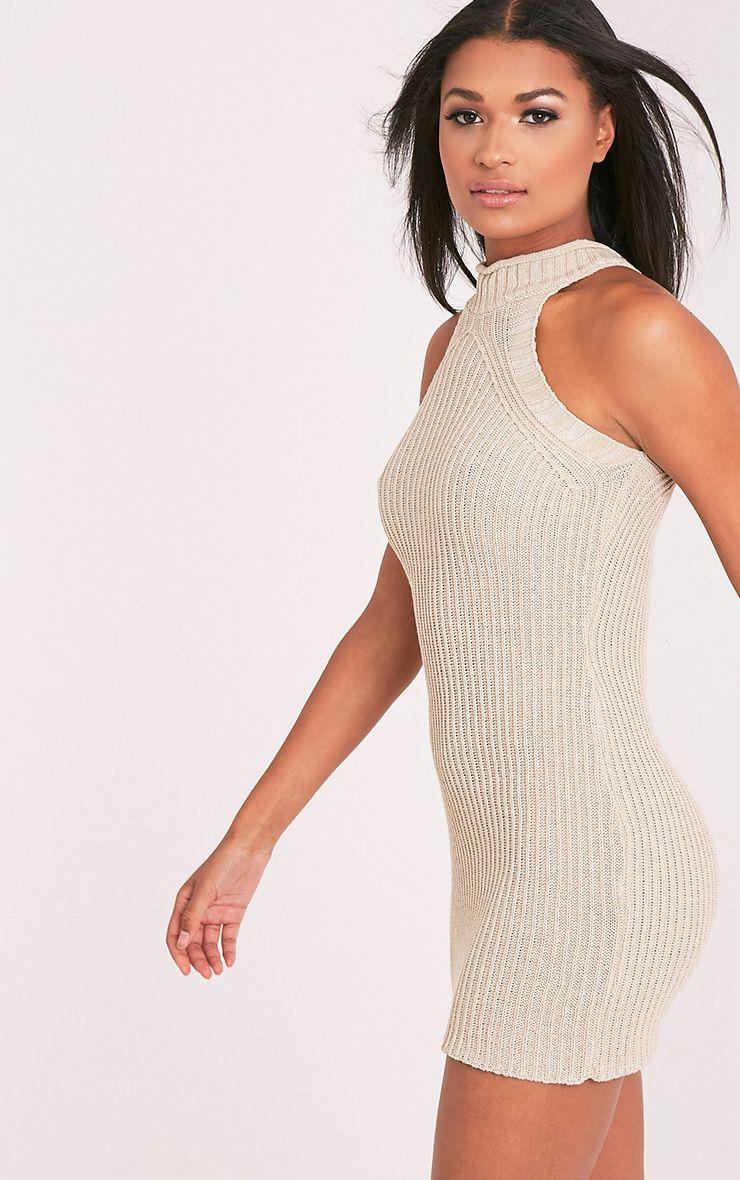 Nadalae robe mini sans manches col montant tricotée gris pierre 4