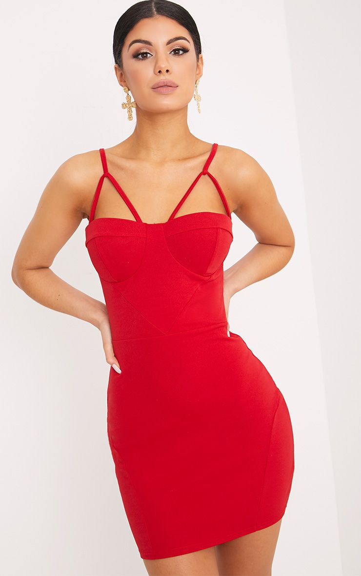 Carrie Red Crepe Panel Bodycon Dress 1