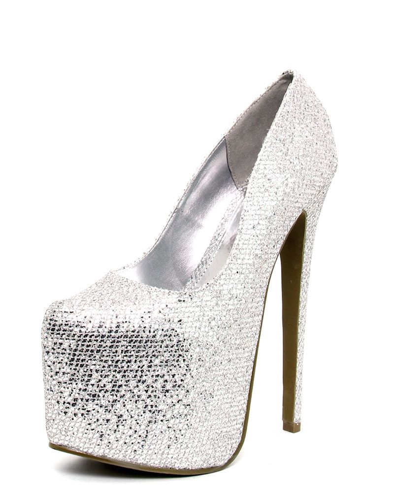 Product photo of Naidene silver platform stiletto grey