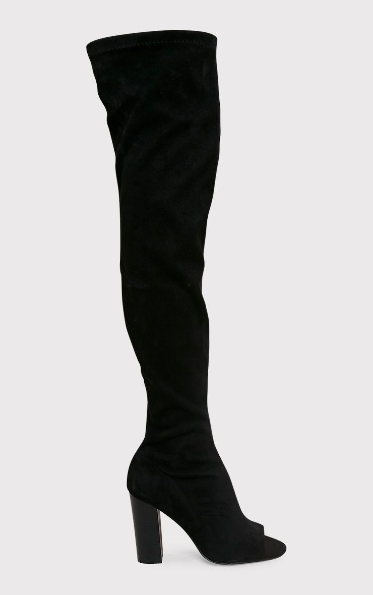 Beccy Black Faux Suede Over The Knee Peep Toe Boots