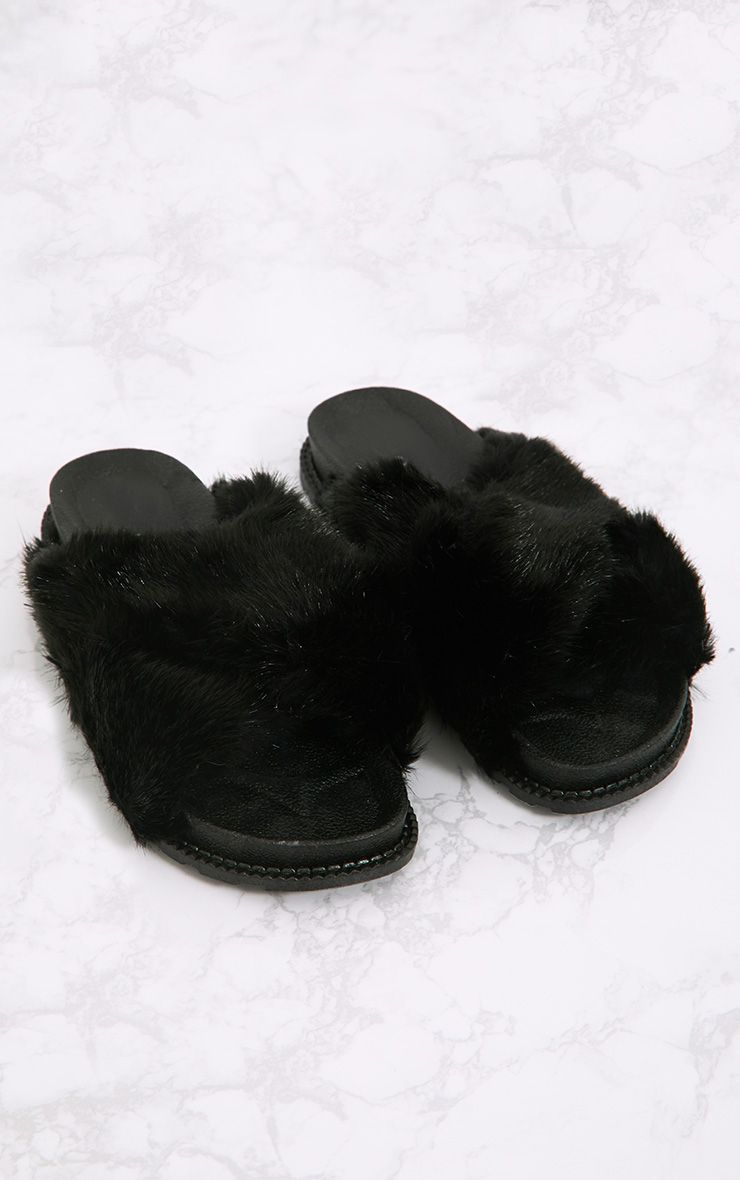 Black Double Strap Fluffy Sliders