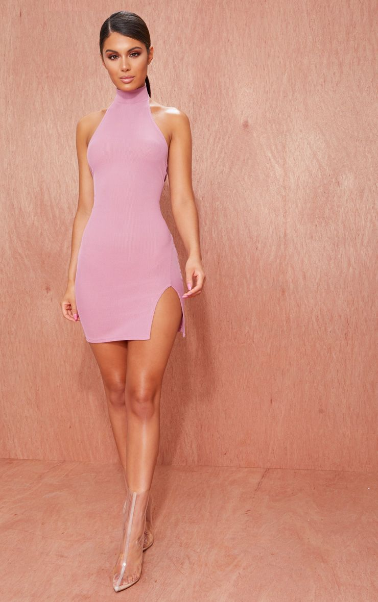 Mauve Ribbed High Neck Split Detail Bodycon Dress