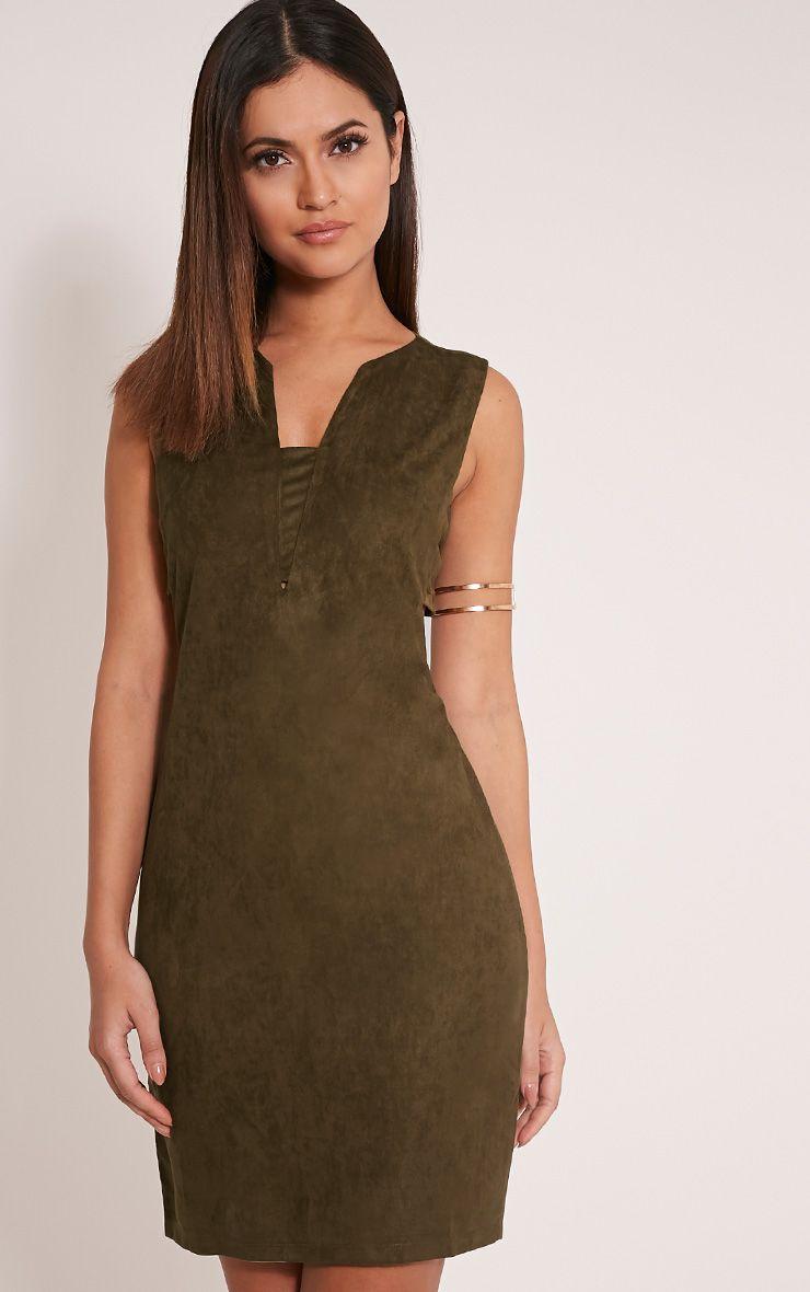 Amara Khaki Suede Tab Side Dress 1