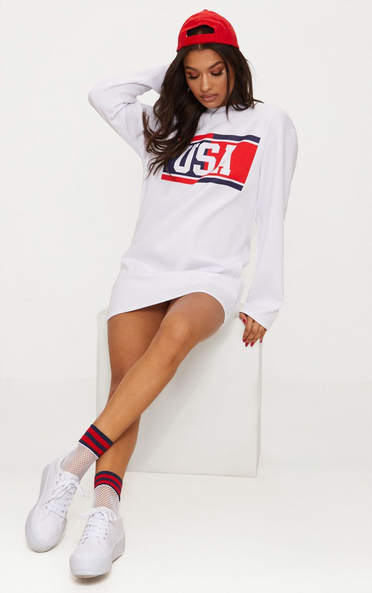 White USA Jumper Dress