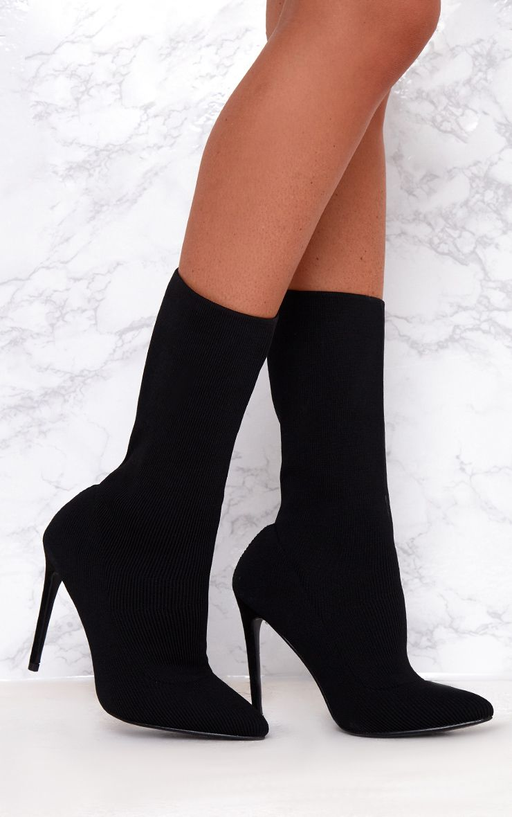 Black Knitted Pointy Sock Boots