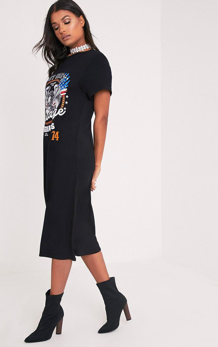 Vintage slogan black t shirt midi dress dresses for Midi shirt dress black