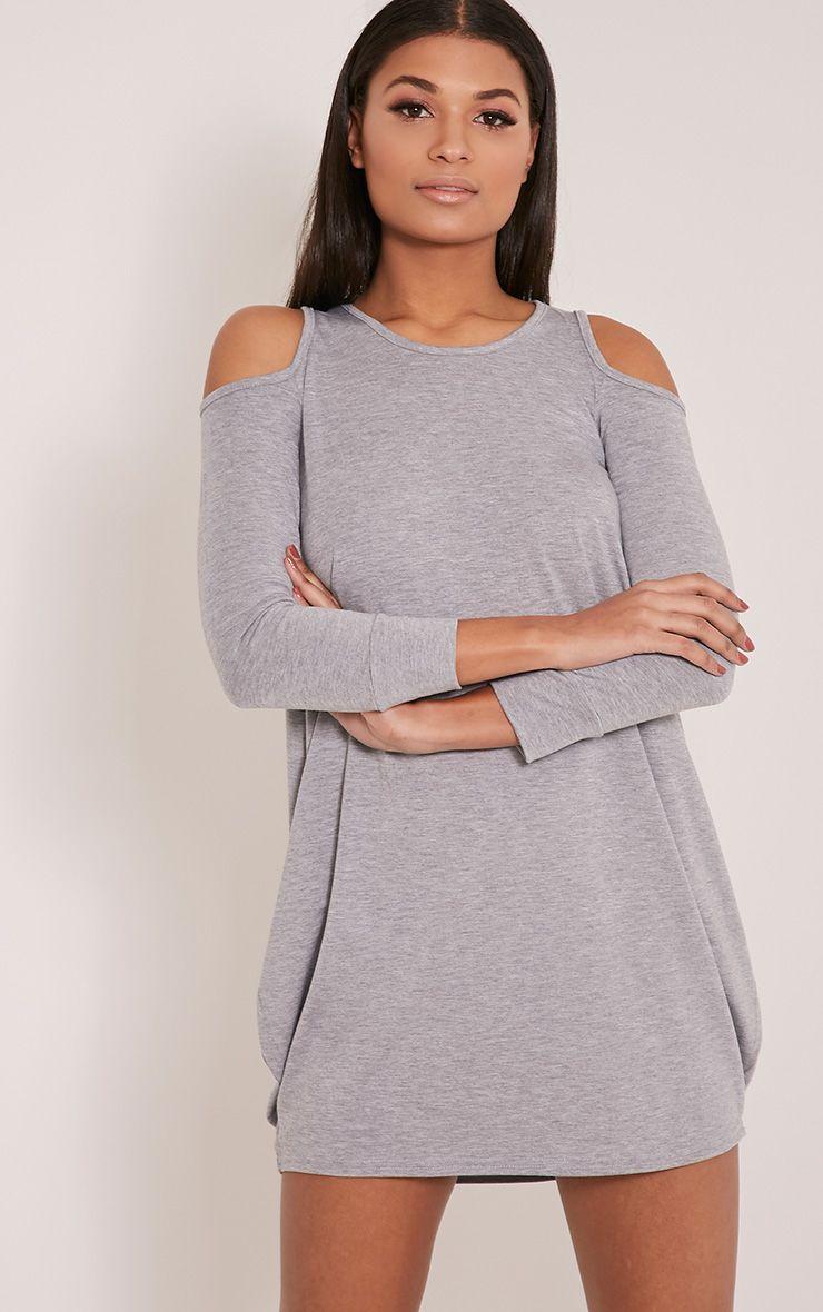 Bronwyn Grey Marl Cut Out Shoulder Dress 1