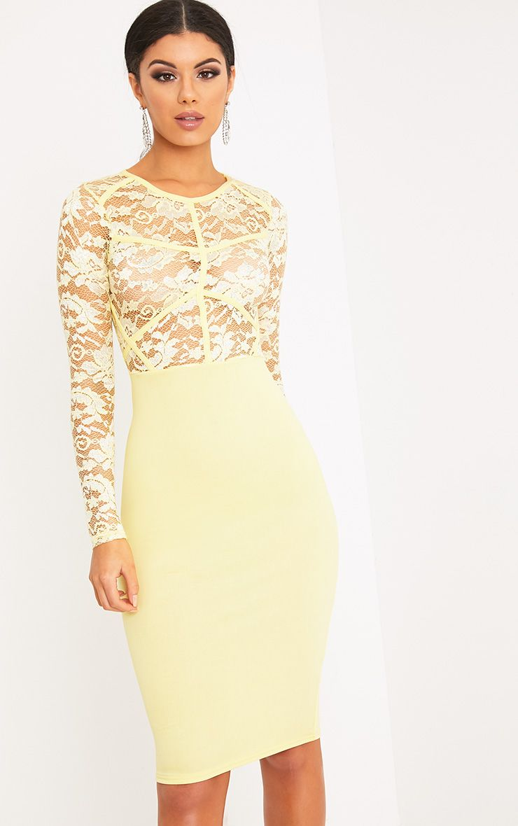 Aspen Lemon Sheer Lace Contrast Midi Dress