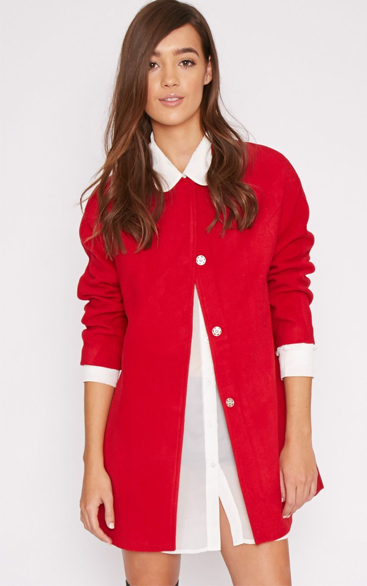Haley Red Wool Collarless Coat  1