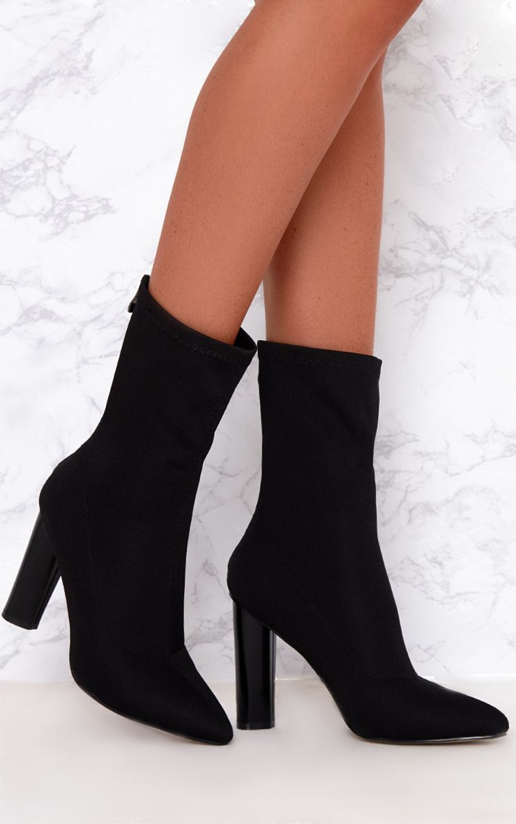 Black Woven Sock Heeled Boots