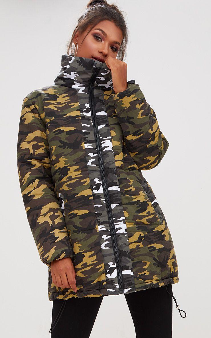 Khaki Oversized Camouflage Coat