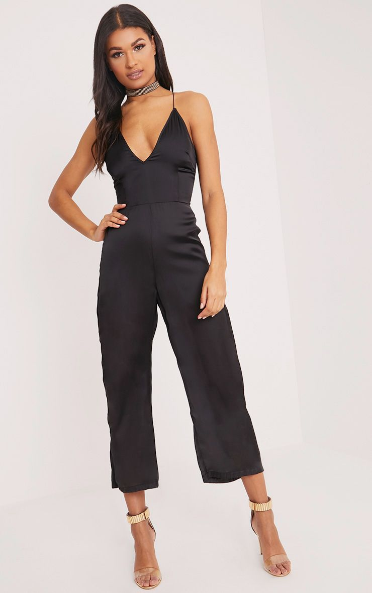 Black Satin Plunge Culotte Jumpsuit