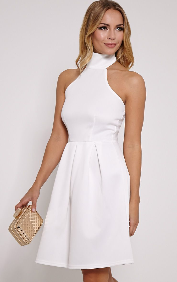 Madeline Cream Halterneck Box Pleat Skater Dress 1