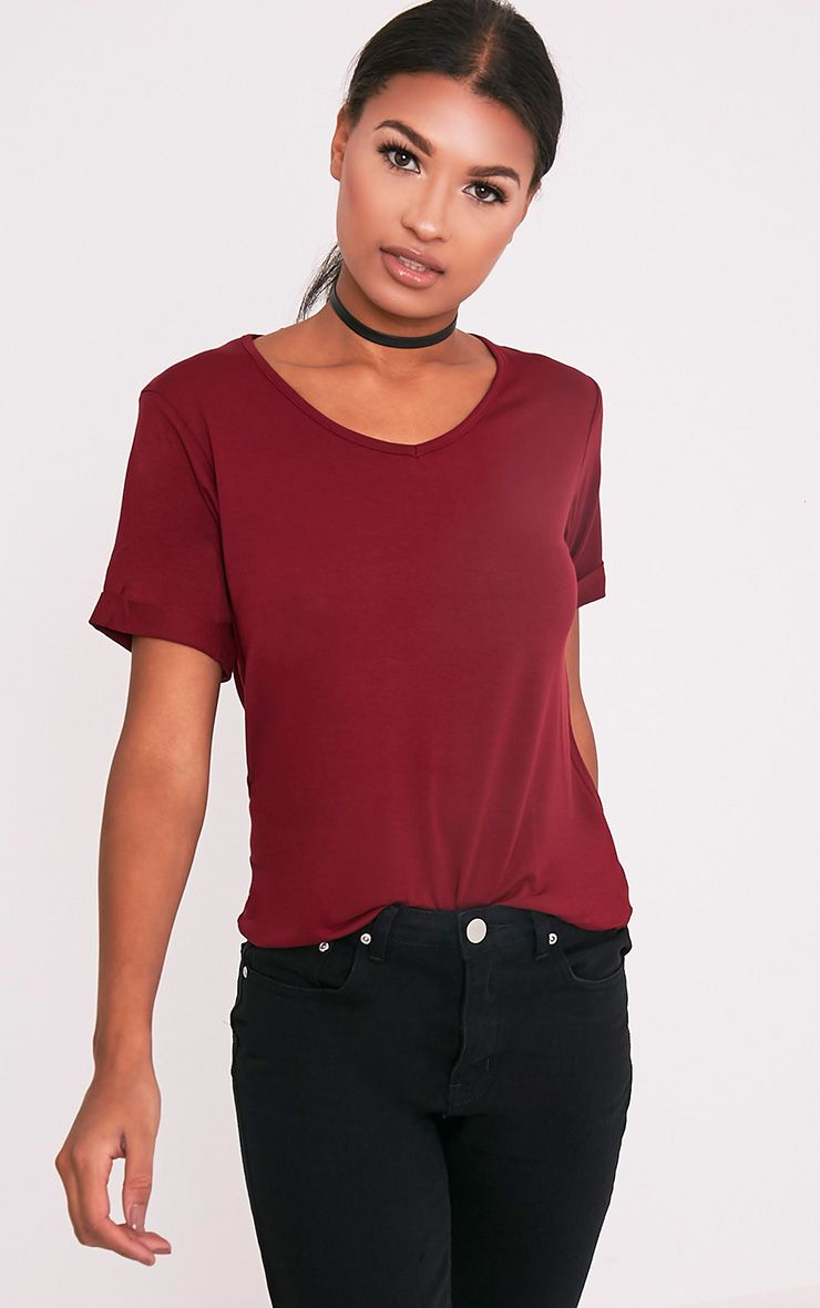 Basic Burgundy V Neck Oversized T-Shirt