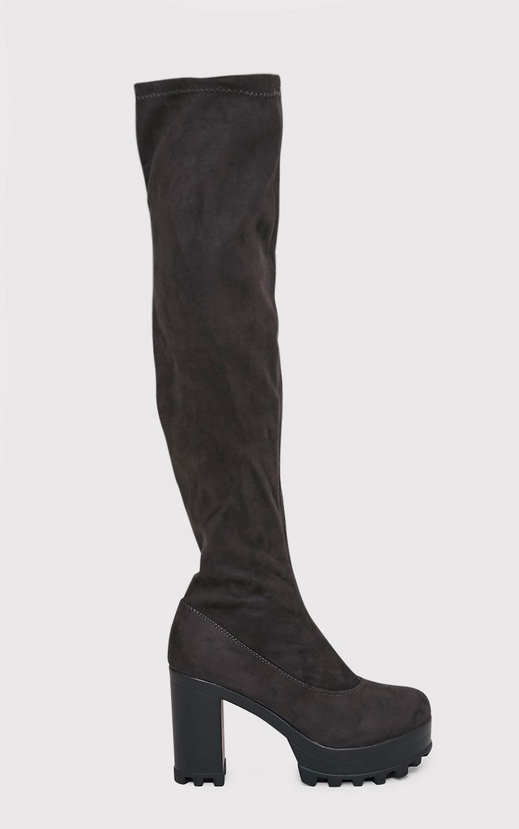 Kymberly Grey Platform Cleated Sole Knee High Boots