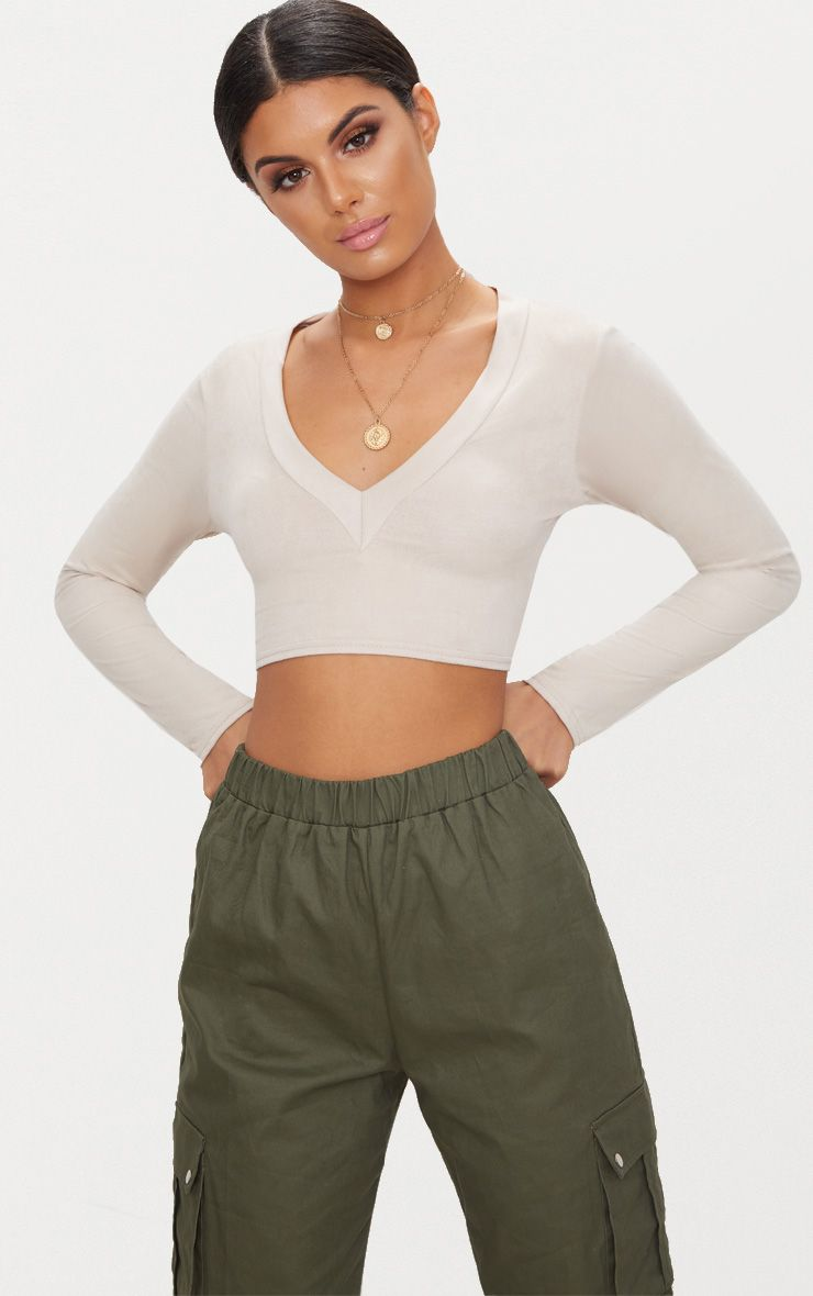 Stone Faux Suede Long Sleeve Crop Top