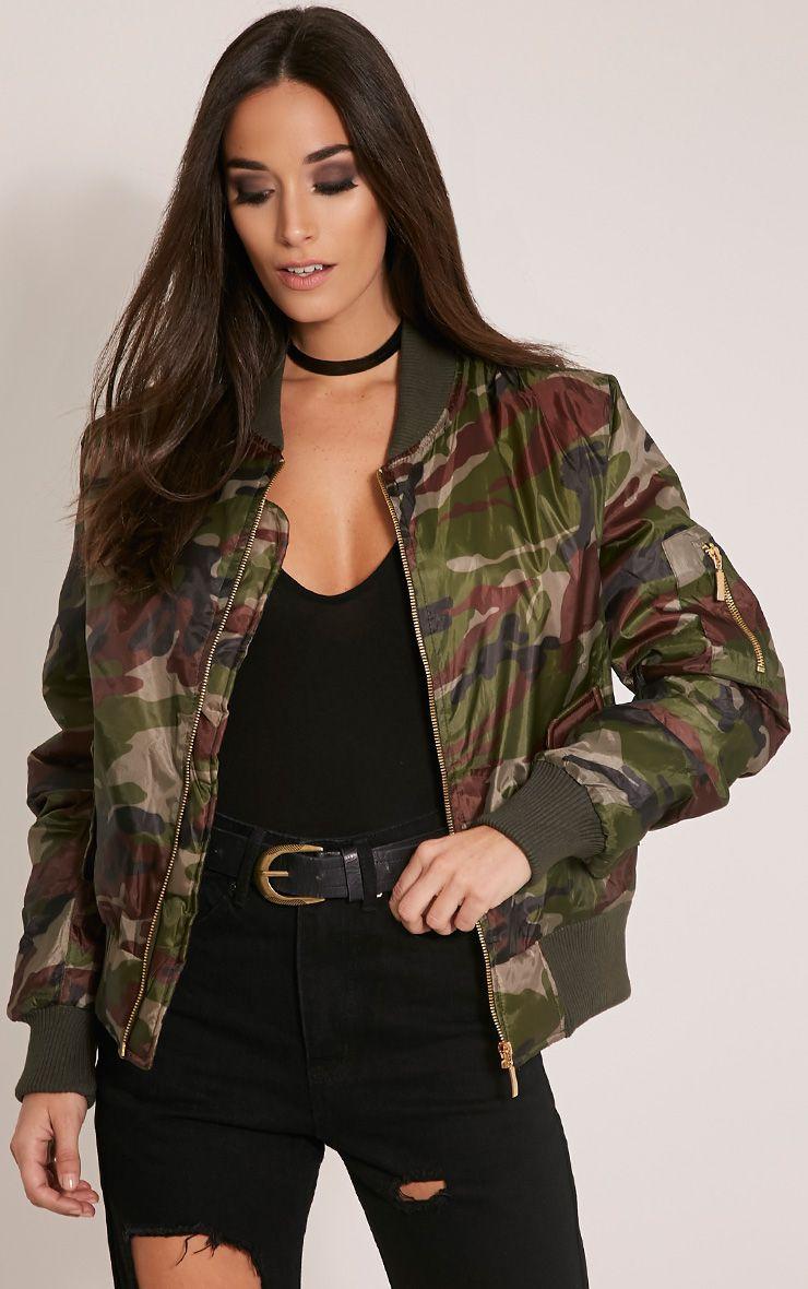 Alexus Green Camouflage Bomber Jacket 1