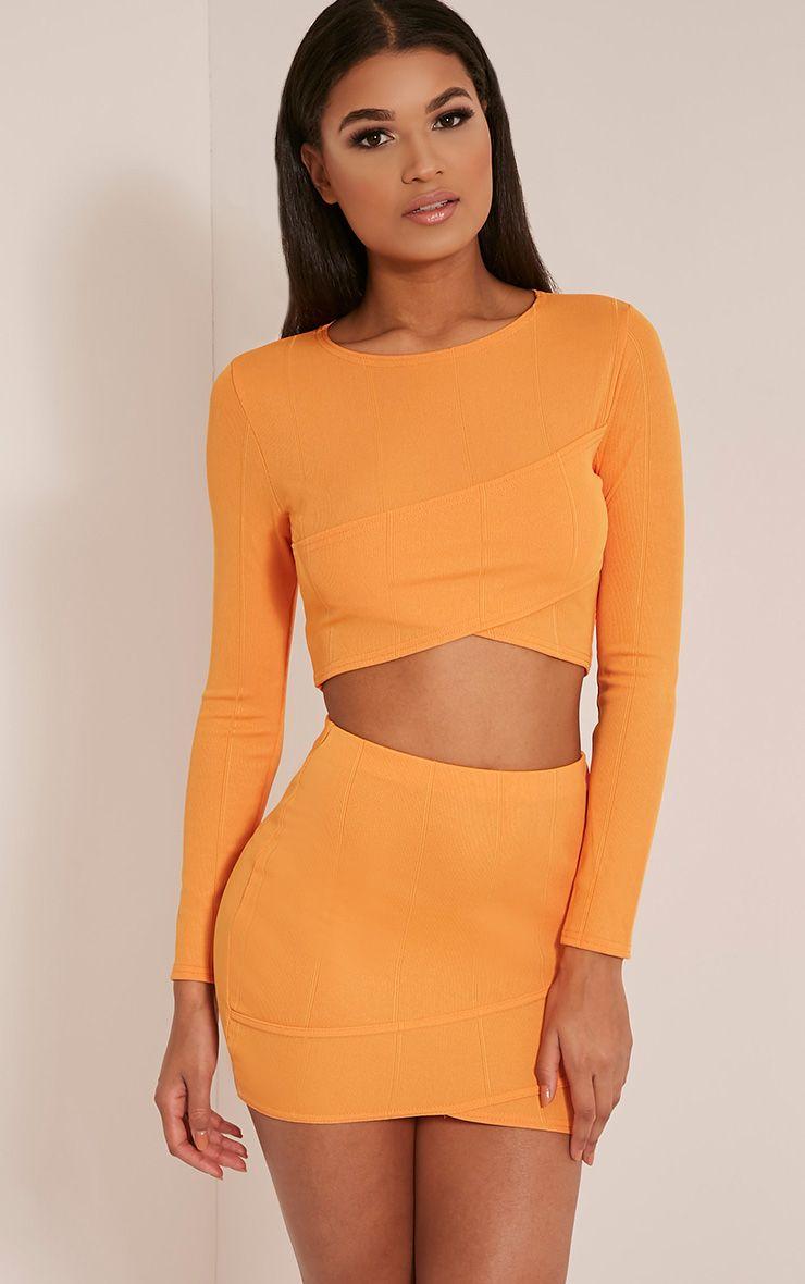 Alena Bright Orange Cross Front Bandage Crop Top 1