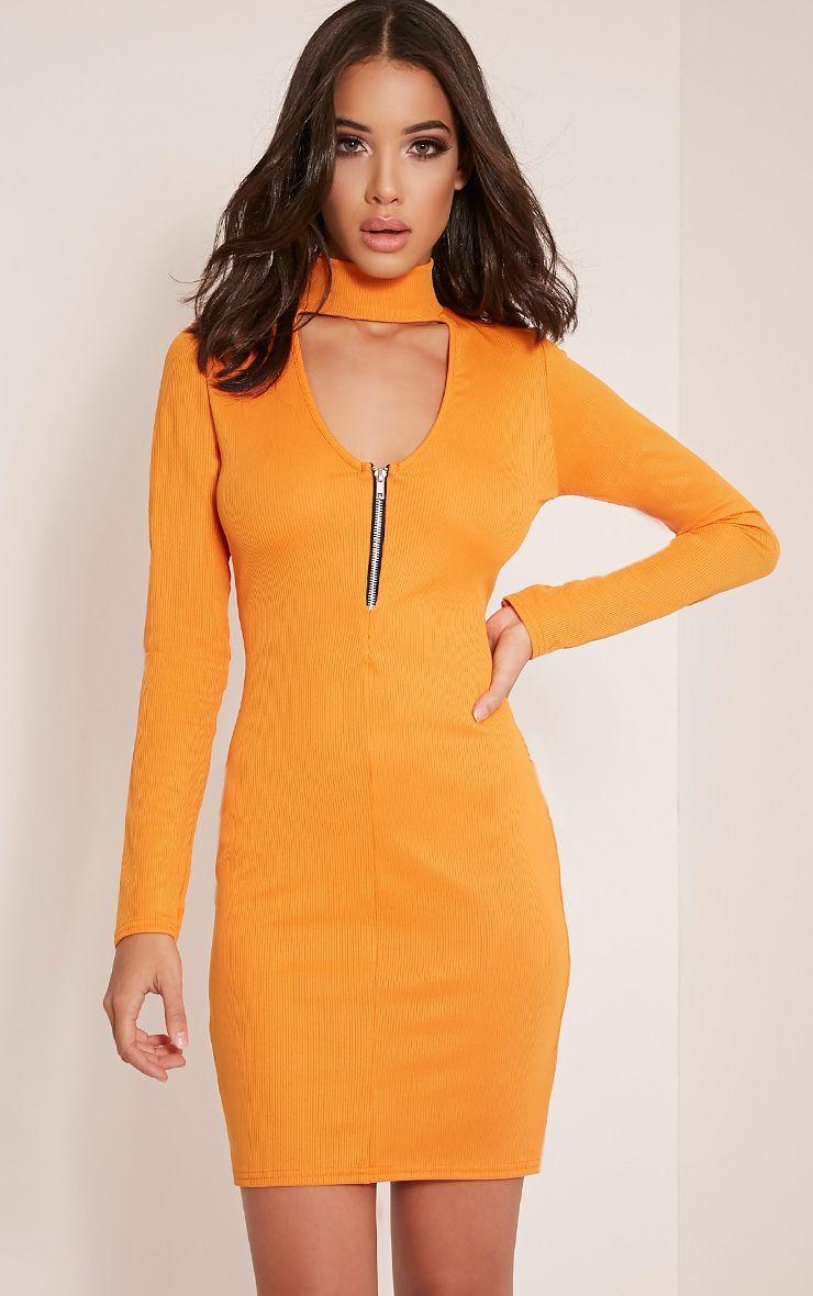 Marlene Bright Orange Zip Detail Ribbed Bodycon Dress