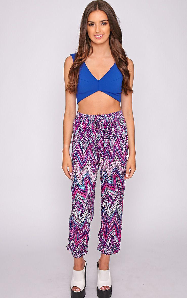 Nahla Pink Print Harem Trouser 1
