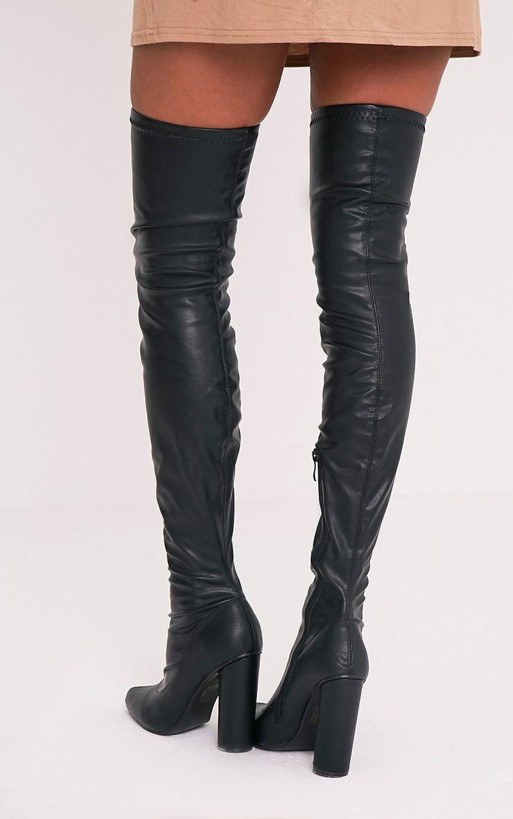 Leenah Black PU Pointed Thigh High Heeled Boots 2
