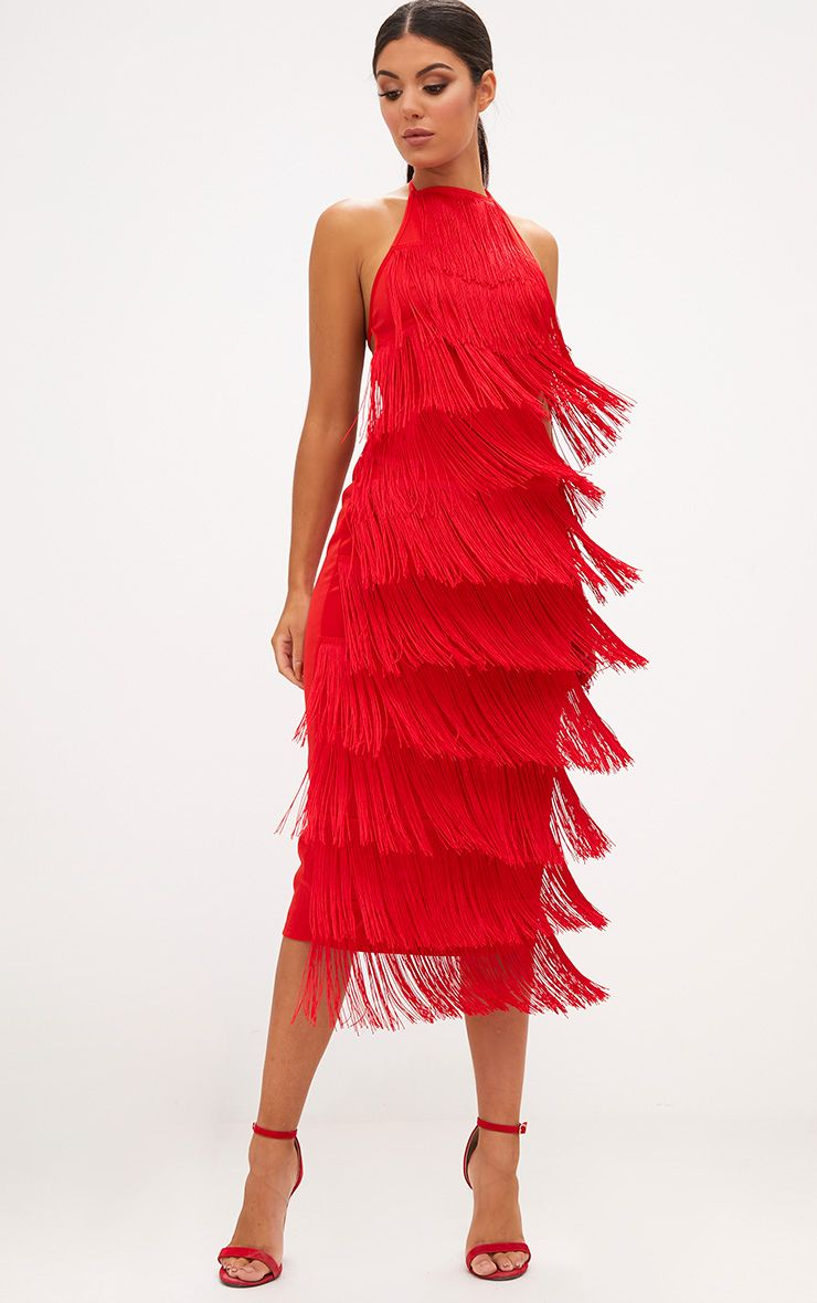 Red Tassel Halterneck Midi Dress