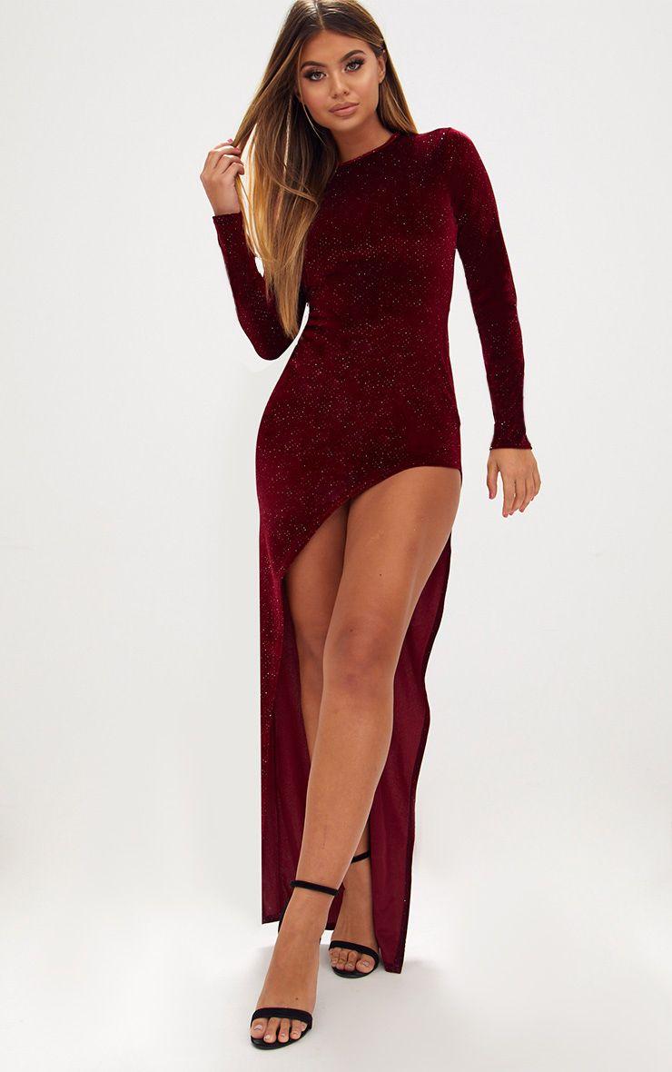 Red Diamante Long Sleeve Extreme Asymmetric Maxi Dress