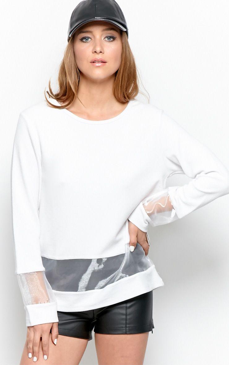 Elena White Sheer Panel Sweater 1