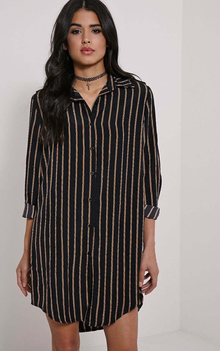 Lillia Black Striped Shirt Dress 1