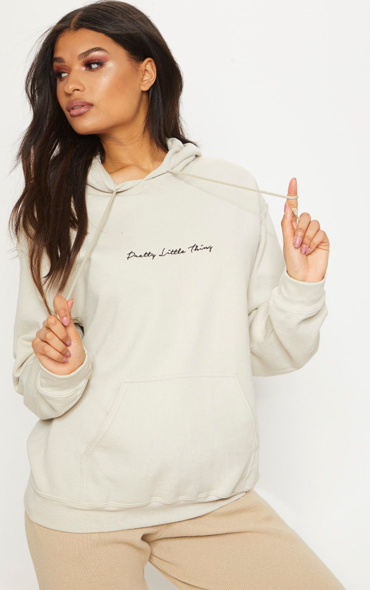 Sand Embroidered Pretty Little Thing Oversized Hoodie