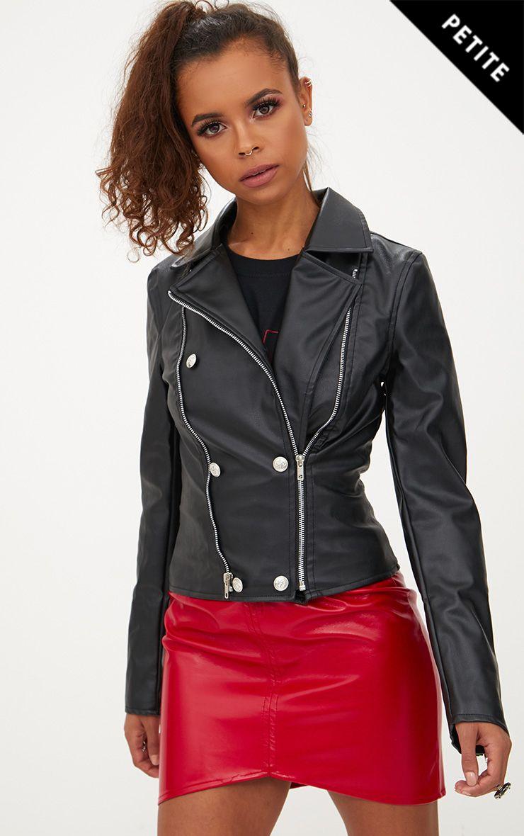 Petite Black Military Button PU Biker Jacket