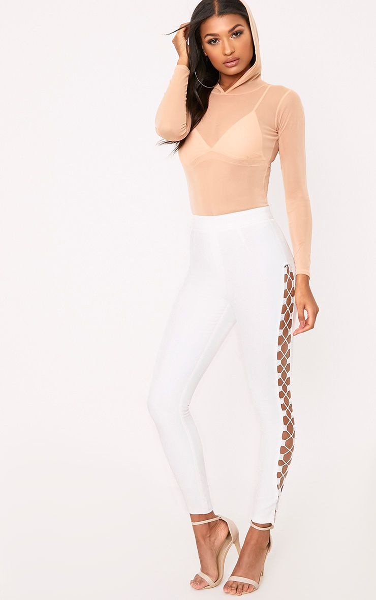 Anetta White Lace Up Side Skinny Trousers 1
