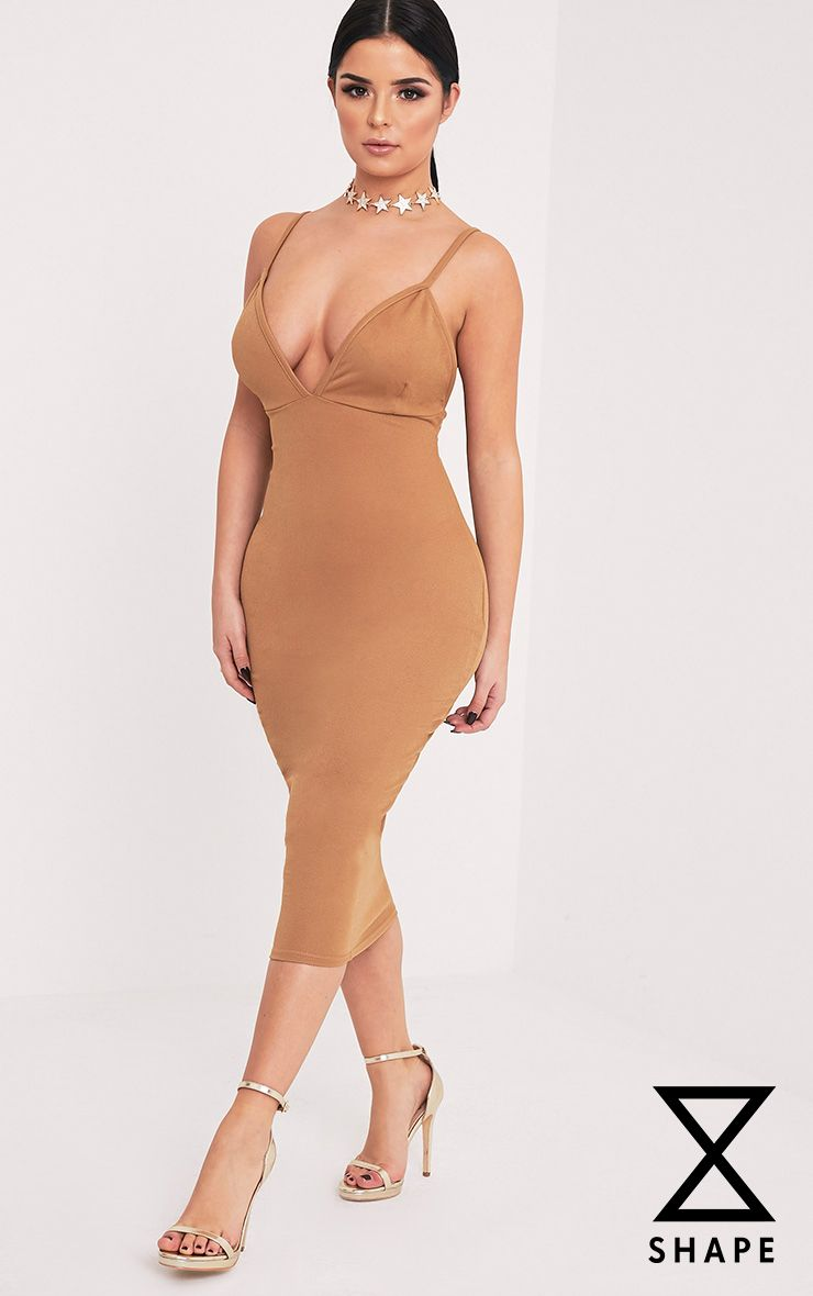 Shape Siana Camel Plunge Midaxi Dress