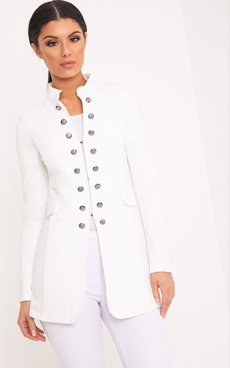 Solenn White Double Button Miltary Coat