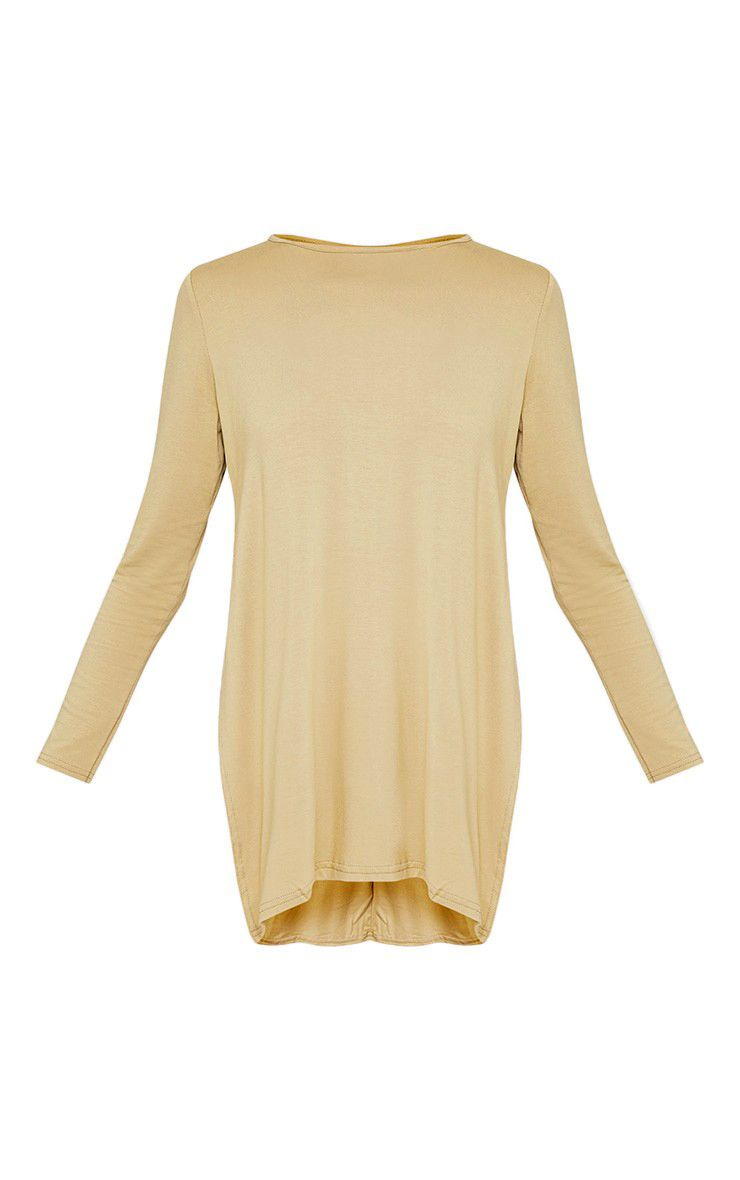 Basic Pale Khaki Longsleeve Side Split Top 3