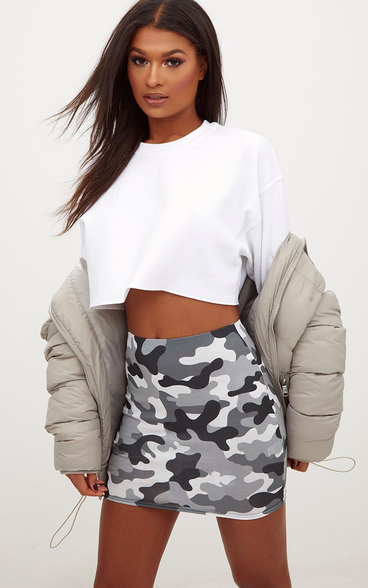 Grey Camo Print Mini Skirt