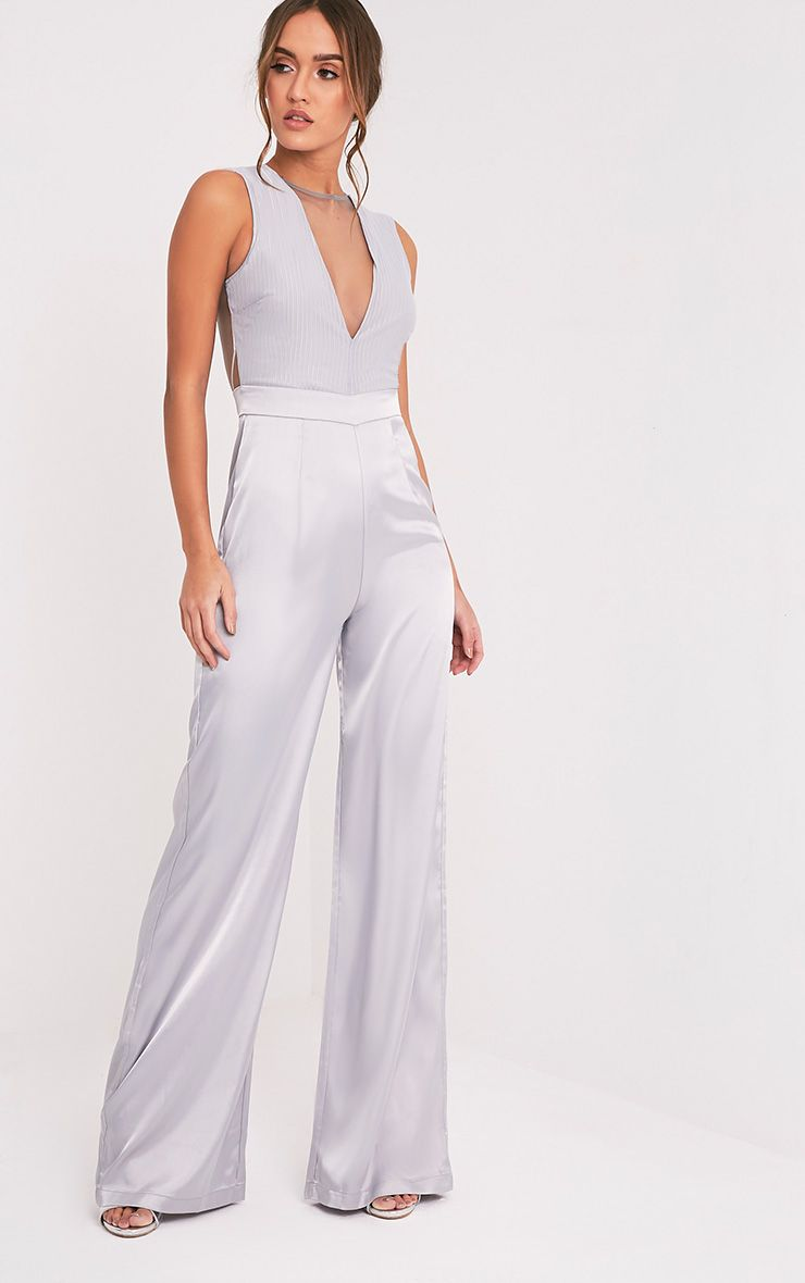 Ria Grey Mesh Satin Bottom Jumpsuit