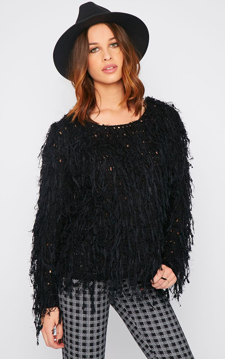 Alvery Black Shaggy Knit Jumper  1