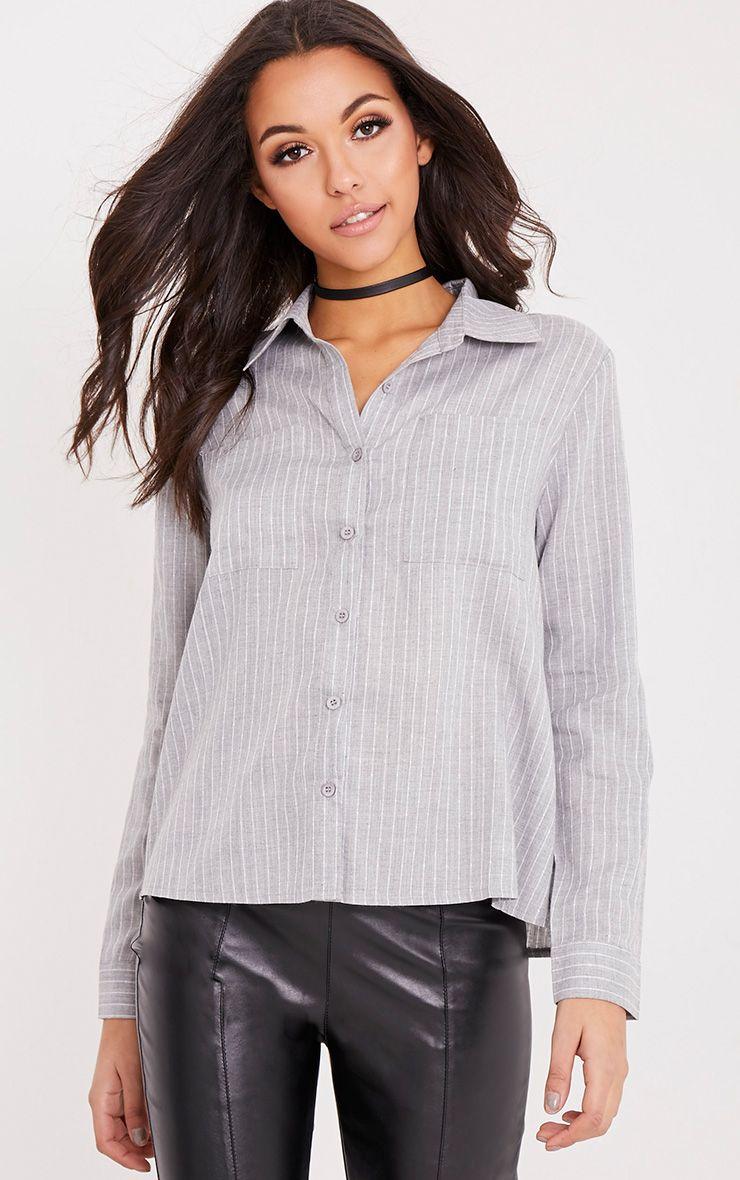 Bethany Grey Soft Stripe Shirt