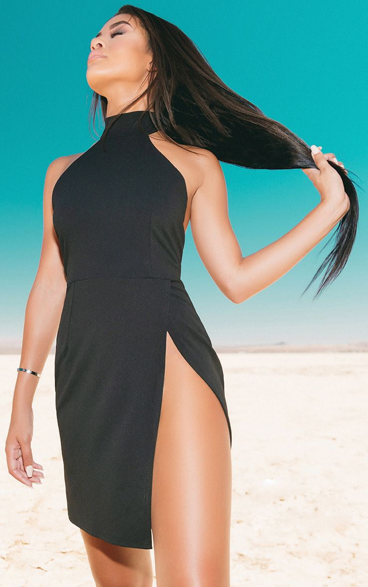Black High Neck Extreme Split Bodycon Dress