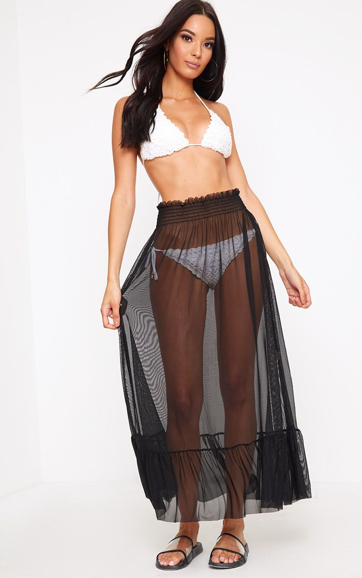 Black Frill Waist Tulle Maxi Skirt