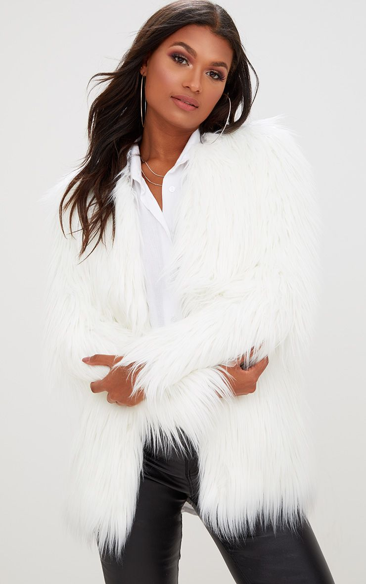 Cream Shaggy Faux Fur Jacket