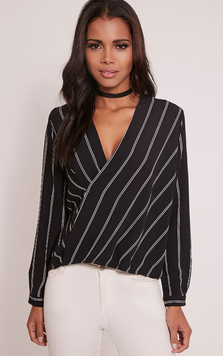 Maya Black Stripe Wrap Front Blouse 1
