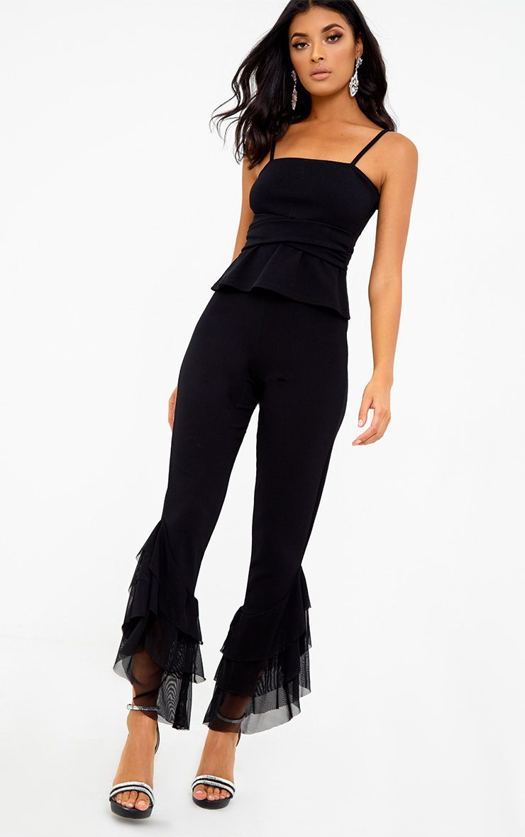 Black Tulle Frill Flared Trousers