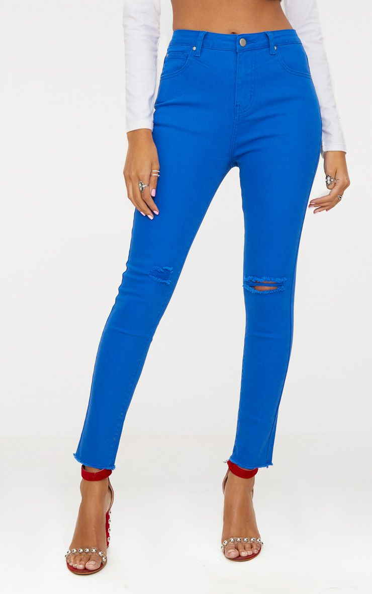 Designer Real Cheap Online PRETTYLITTLETHING Cobalt Rip Knee Skinny Jean Pay With Paypal Online Clearance Outlet GdNBDXE