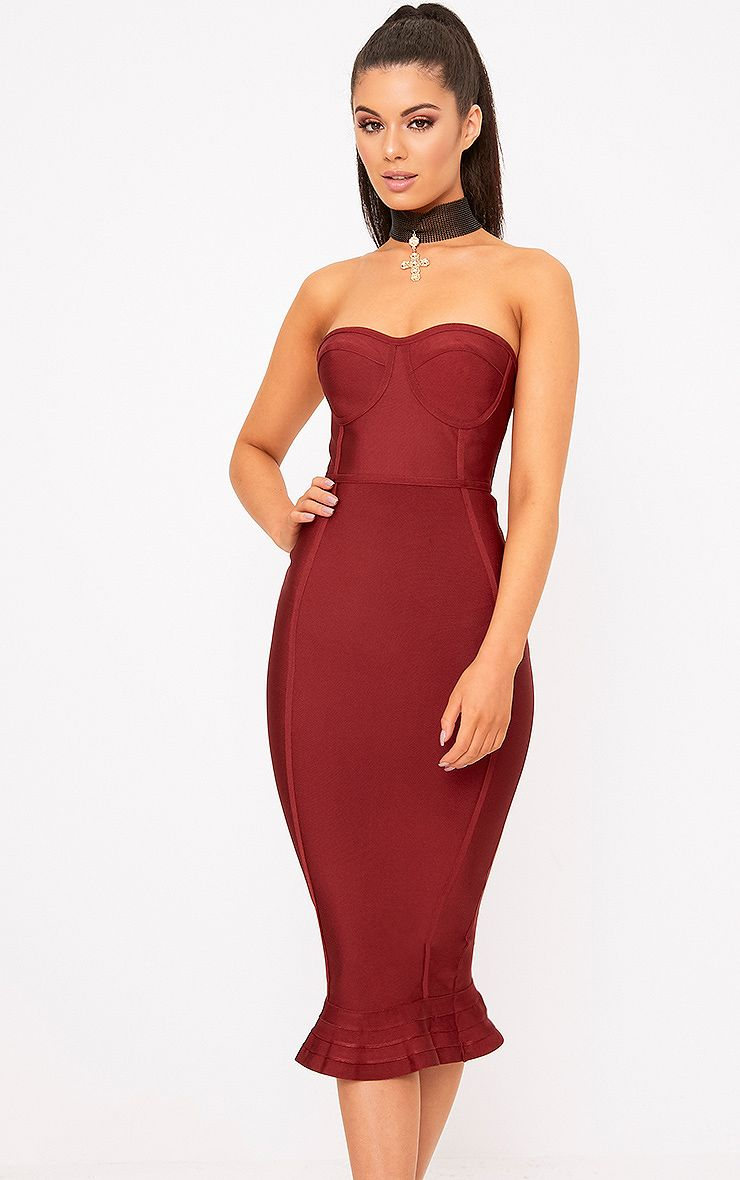 Dark Red Bandage Frill Hem Midi Dress