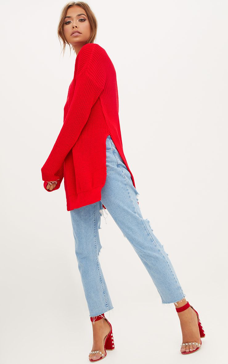 Red Round Neck Side Split Jumper