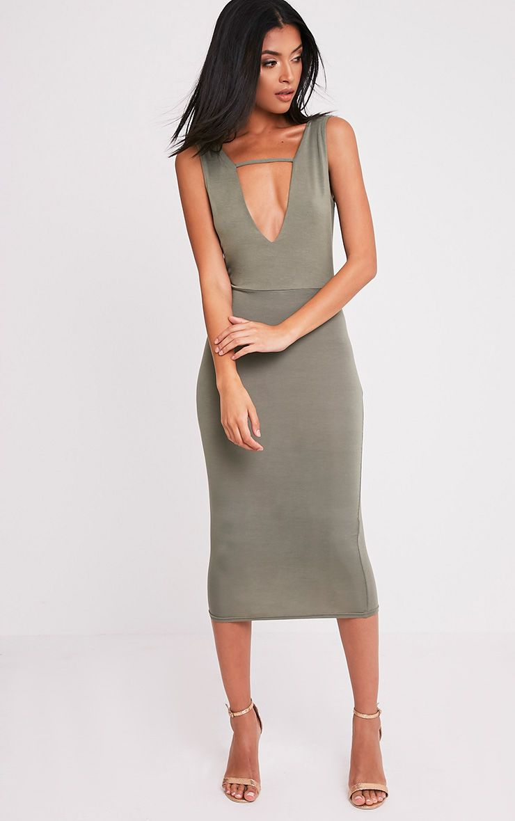 Basic Khaki Strap Detail Plunge Midi Dress