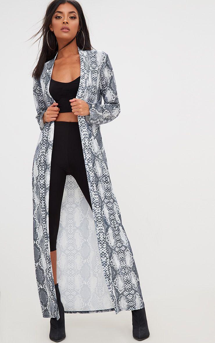 Grey Snake Print Midi Kimono