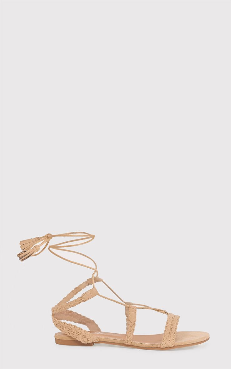 Catia Beige Lace Up Detail Sandals